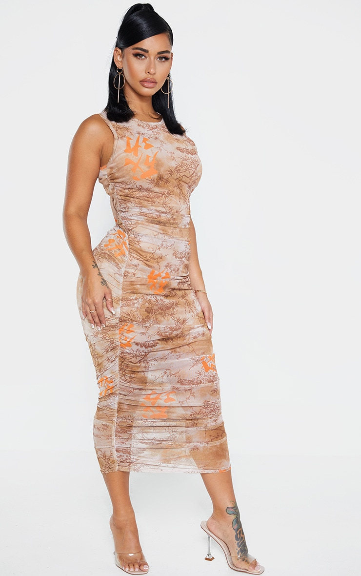 Shape Nude Oriental Print Sleeveless Midi Dress 3