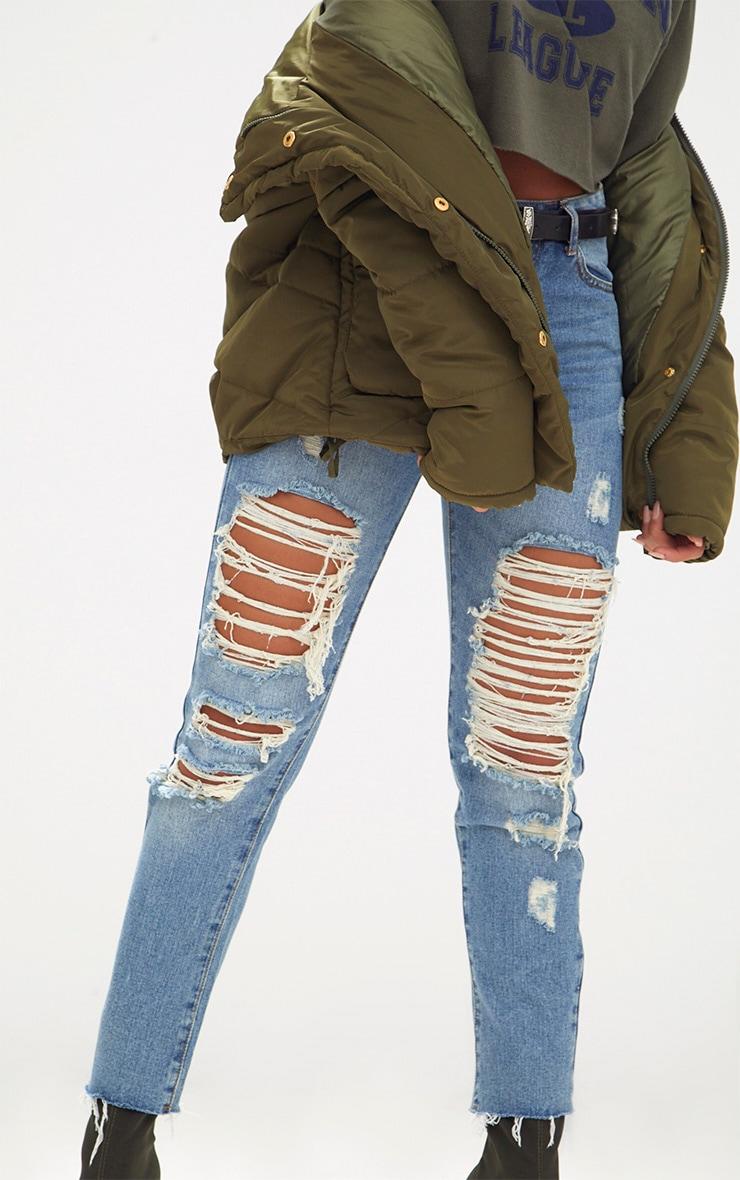 Mid Wash Frayed Rip Straight Leg Jean 5