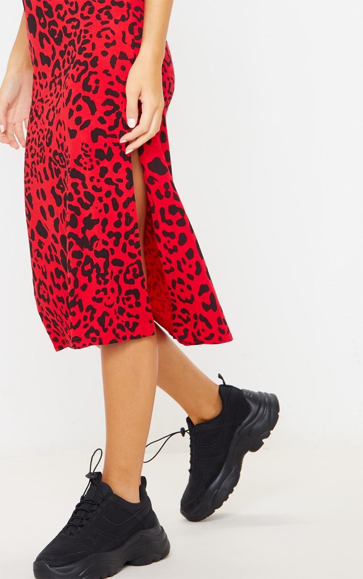Red Leopard Print Jersey Split Midi Dress 6