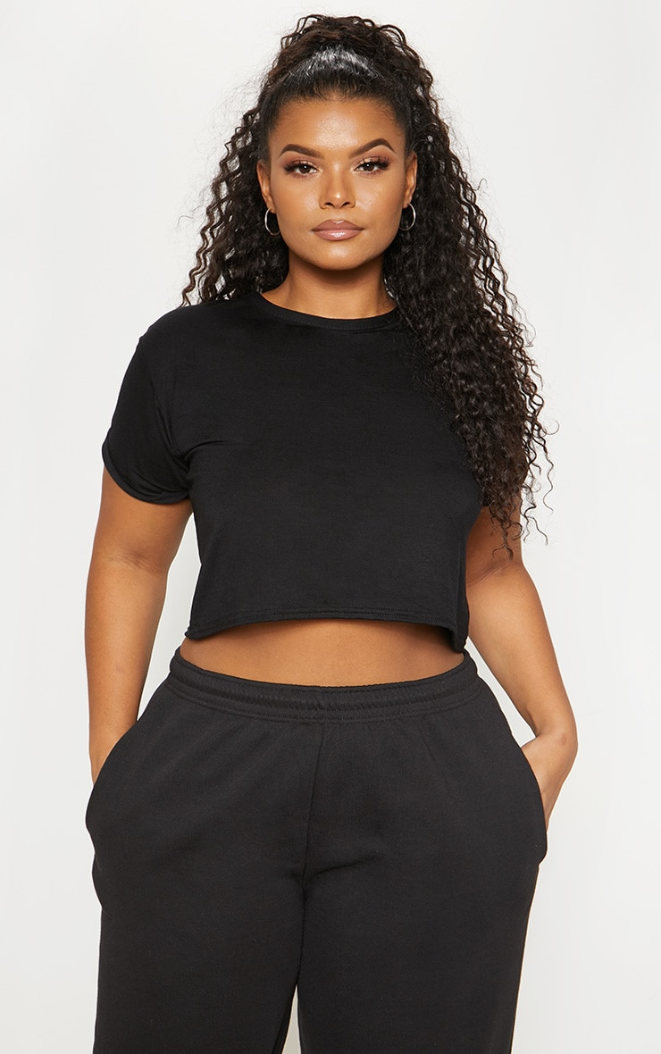 Plus Black Basic Roll Sleeve Crop T Shirt 1