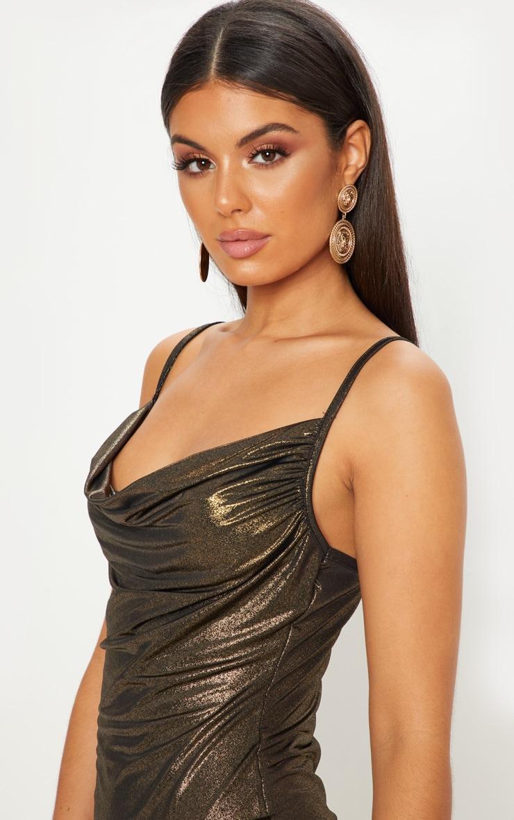 Gold Strappy Cowl Metallic Bodycon Dress 4