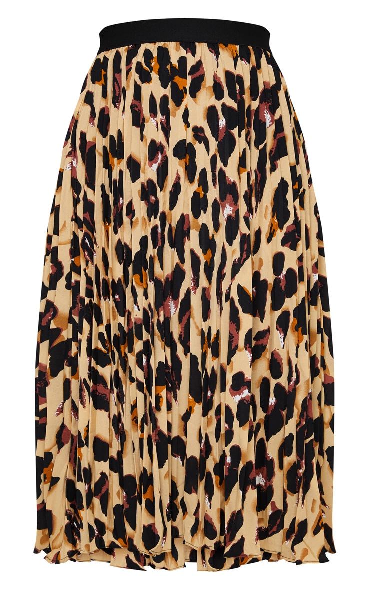 Brown Leopard Satin Pleated Midi Skirt 5