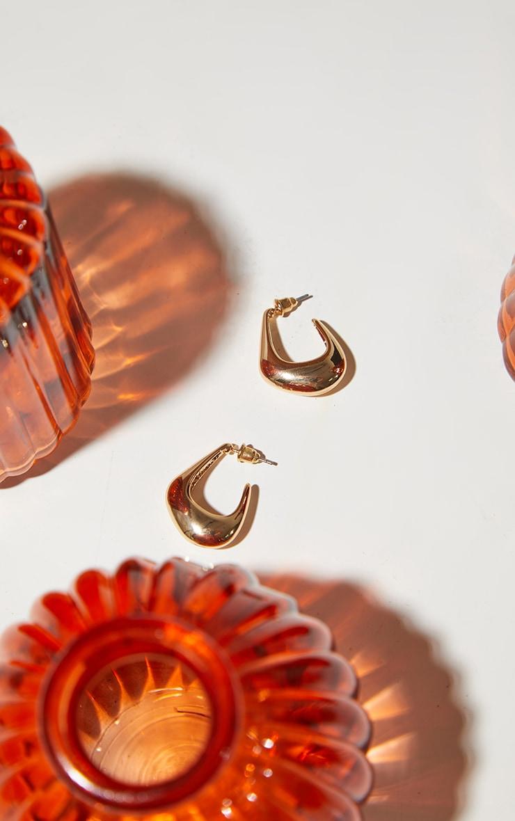 Gold Mini Oval Earrings 2