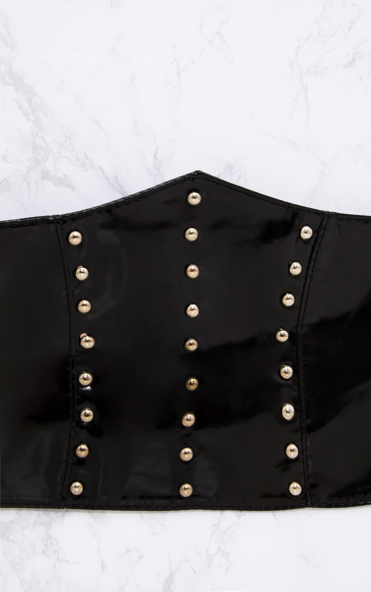 Black Patent Studded Corset Belt 5