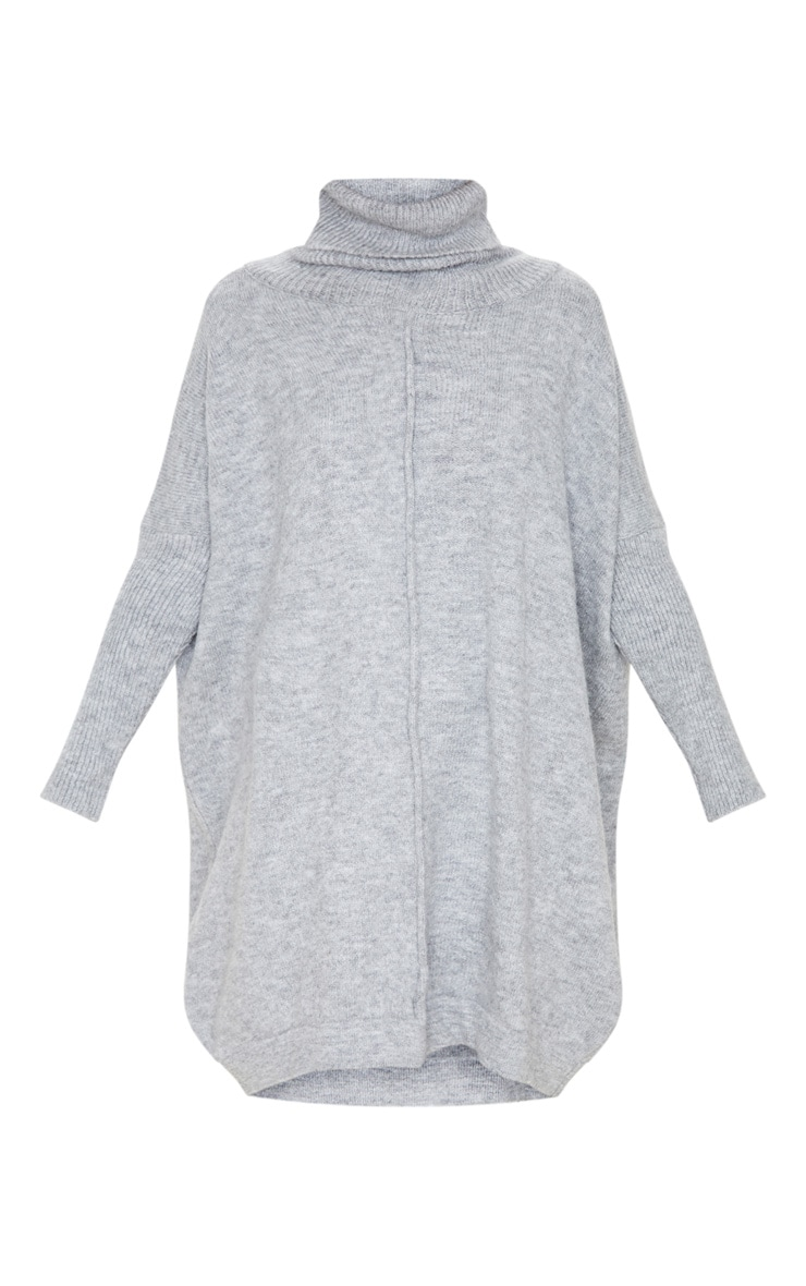 Grey Seam Front Funnel Neck Oversized Jumper Dress 3
