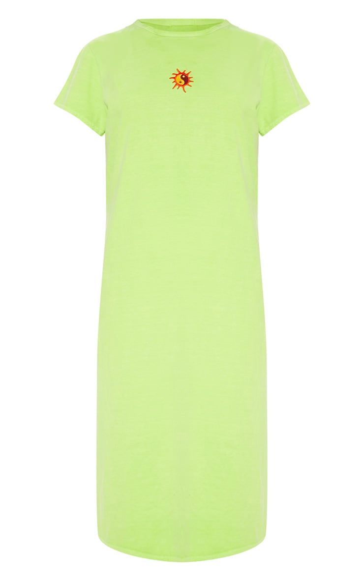 Lime Sun Embroidered Oversized T Shirt Midi Dress 3