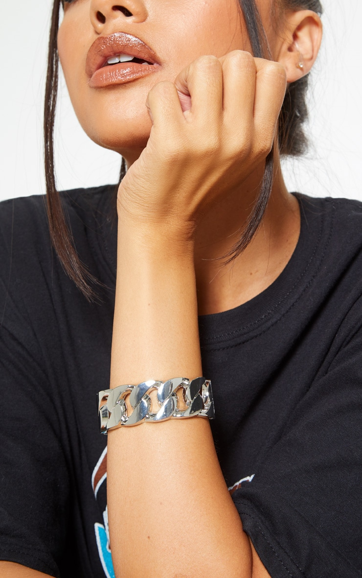 Silver Chunky Chain Cuff Bracelet 1