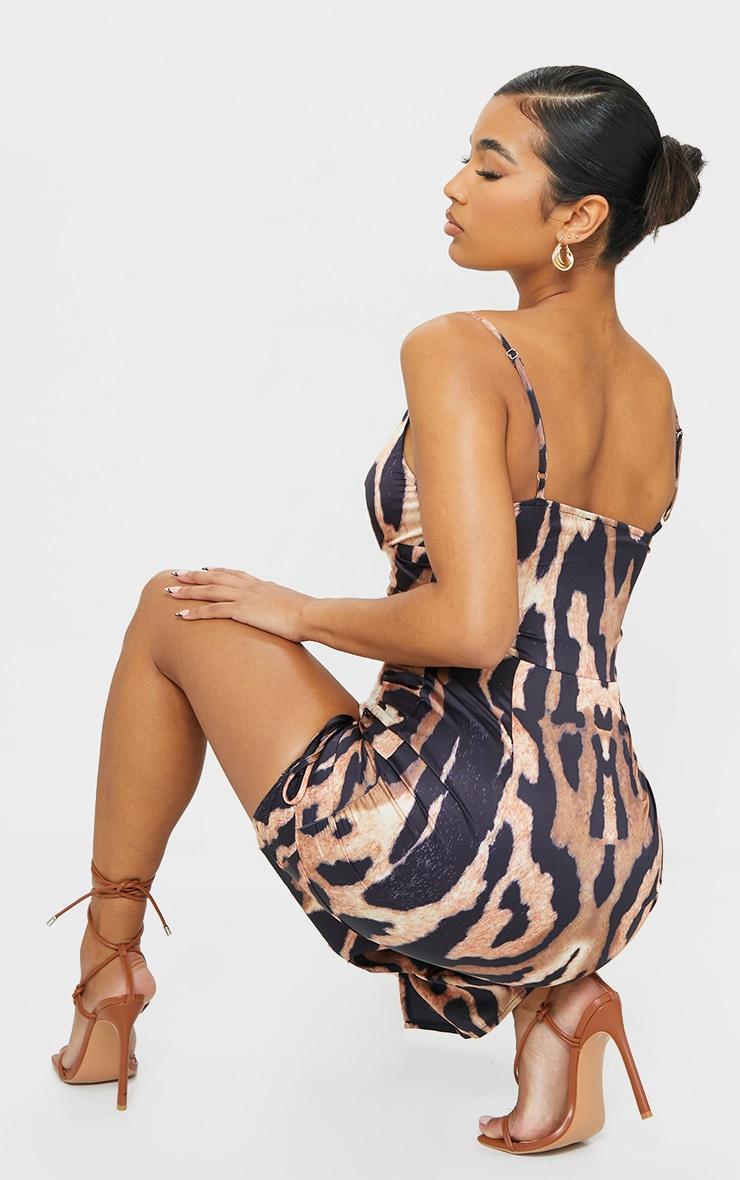 Brown Leopard Print Satin Twist Bust Ruched Maxi Dress 2