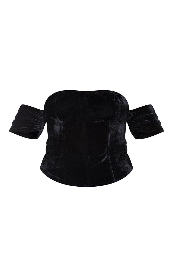 Plus Black Velvet Lace Up Back Corset 5