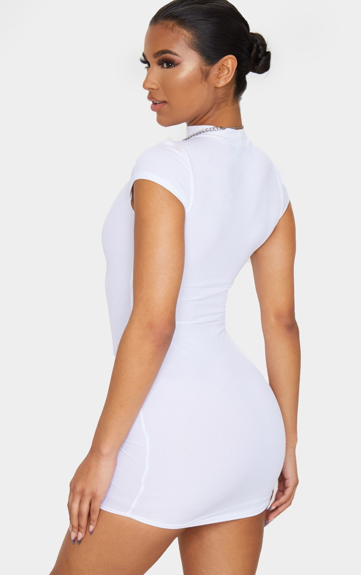 White High Neck Ribbed Bodycon Dress 2