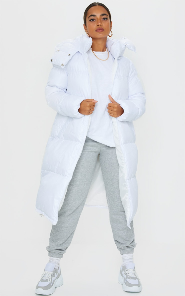 Petite White Maxi Puffer Coat 1