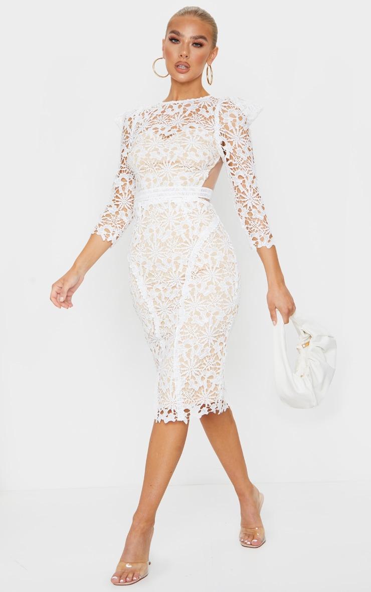 White Lace Open Back Long Sleeve Midi Dress 1