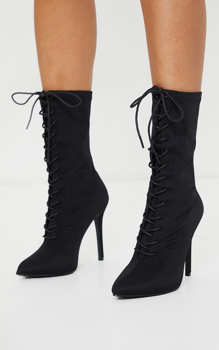 Black Lace Up Front Sock Boots 1