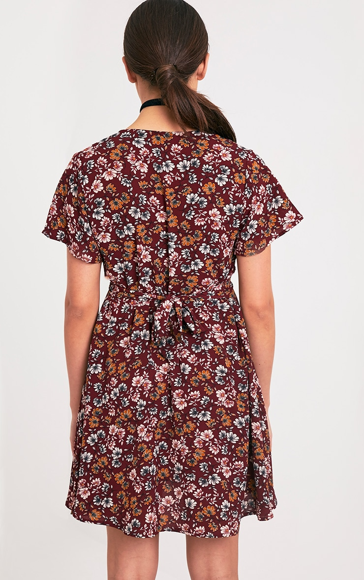 Josey Burgundy Floral Wrap Over Swing Dress 2