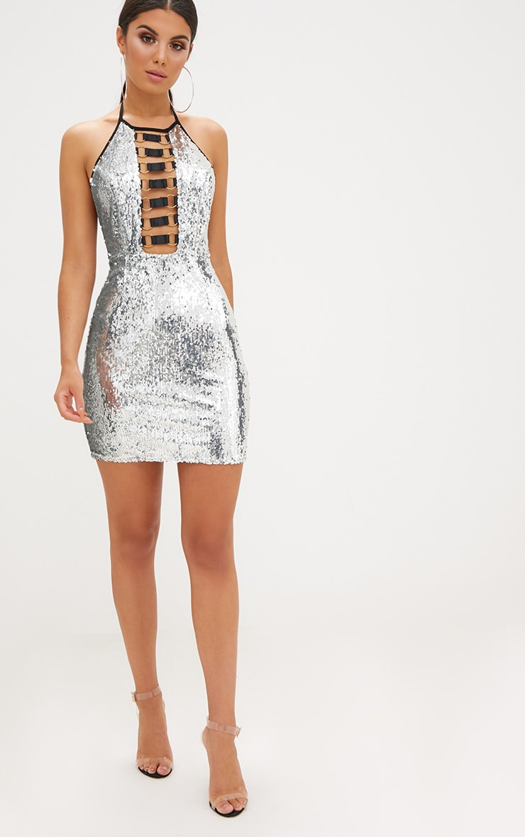 Silver Sequin Ring Detail Bodycon Dress 4