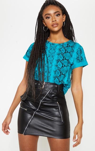 Basic Teal Snake Roll Sleeve Crop T Shirt
