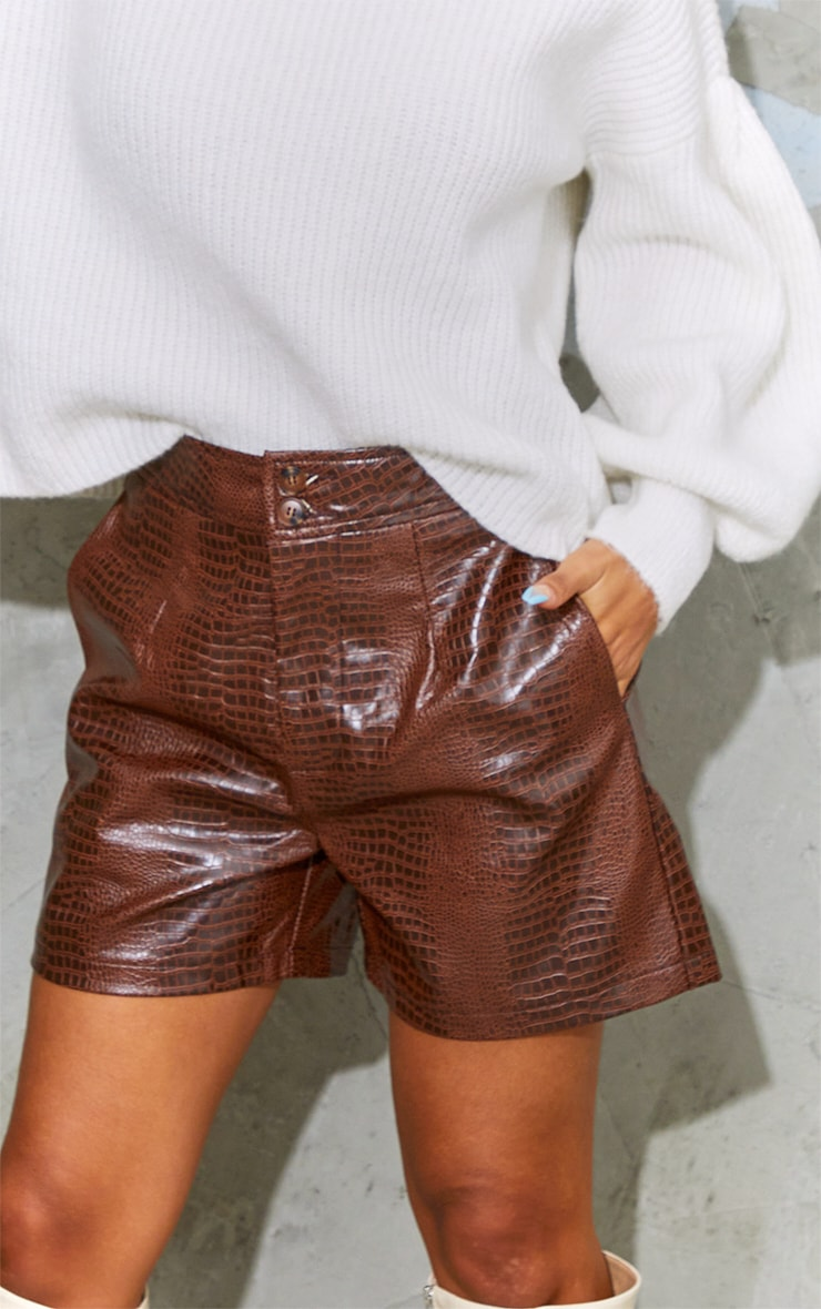 Chocolate Faux Leather Croc Effect Shorts 5
