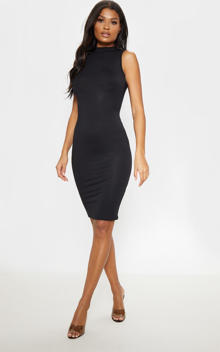 Black High Neck Sleeveless Midi Dress 1