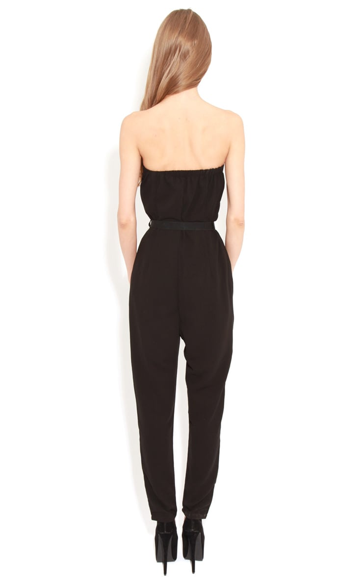 Ellie Black Strapless Jumpsuit With Belt 2