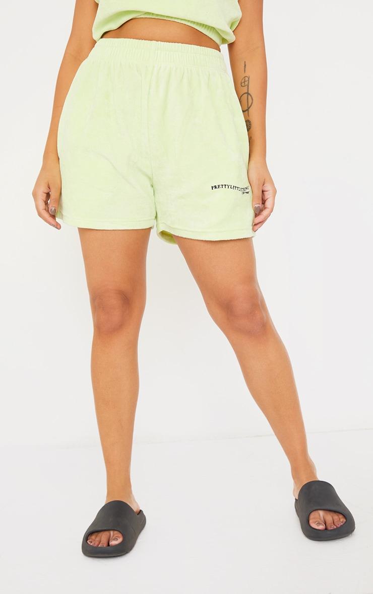 PRETTYLITTLETHING Petite Mint Velour Shorts 2