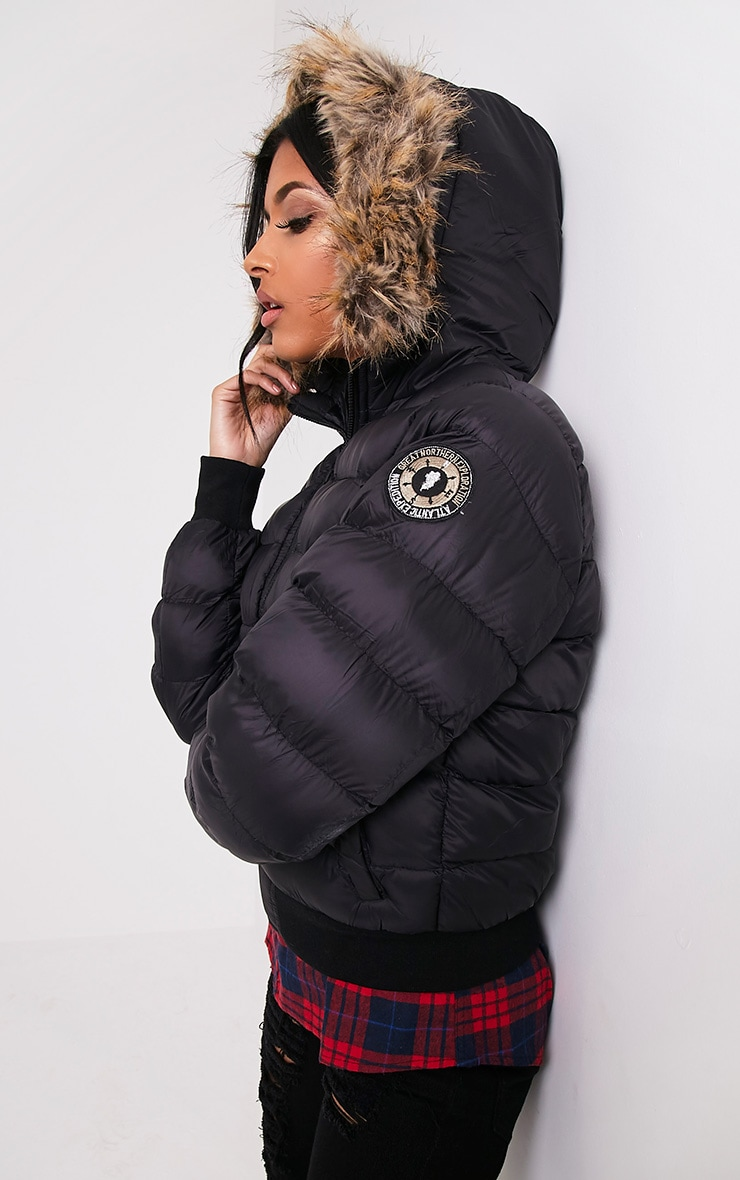 Chanah Black Faux Fur Trim Puffa Jacket 4
