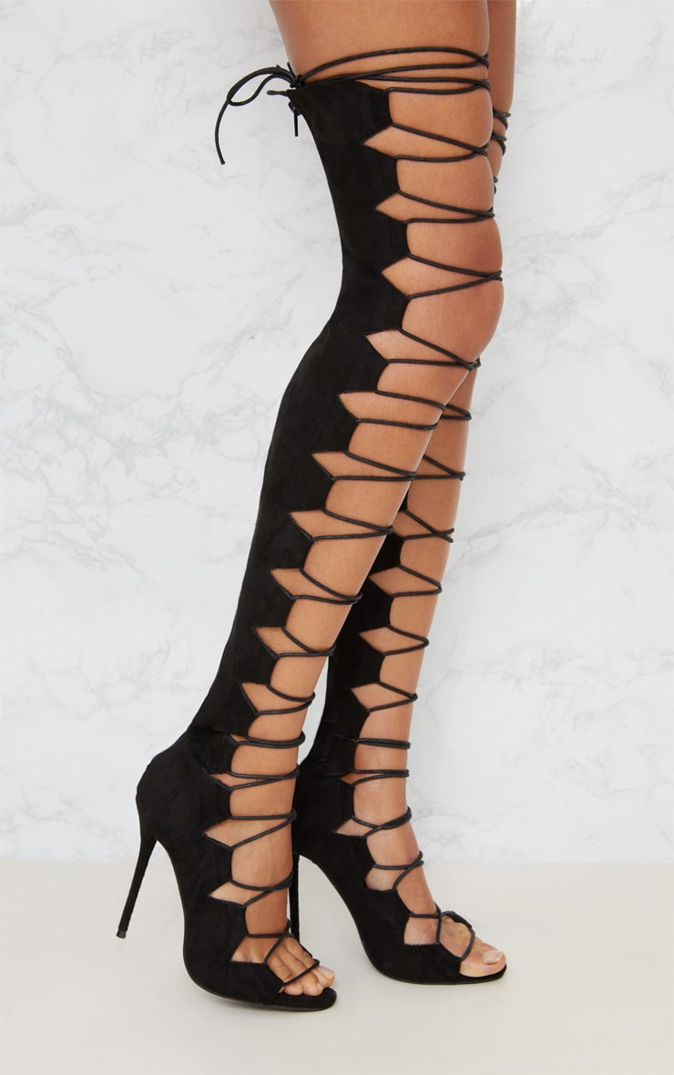 Black Lace Up Stiletto Thigh High Boots 2