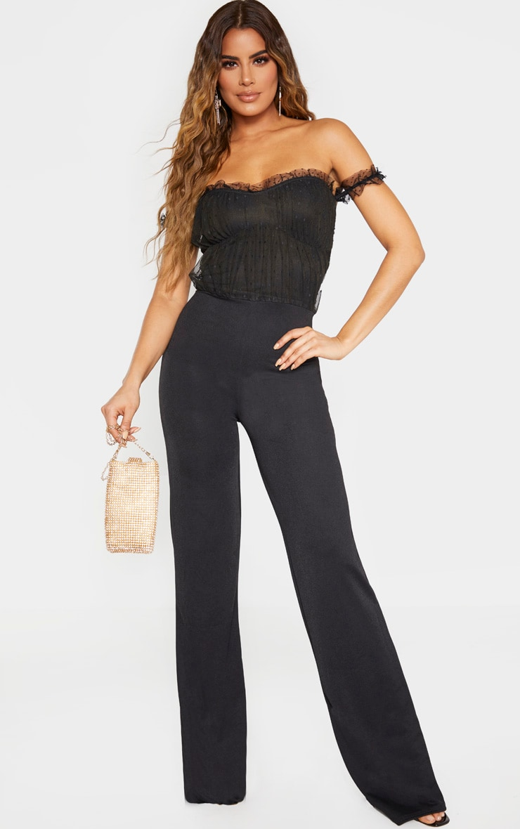 Tall Black Dobby Mesh Bardot Wide Leg Jumpsuit 1