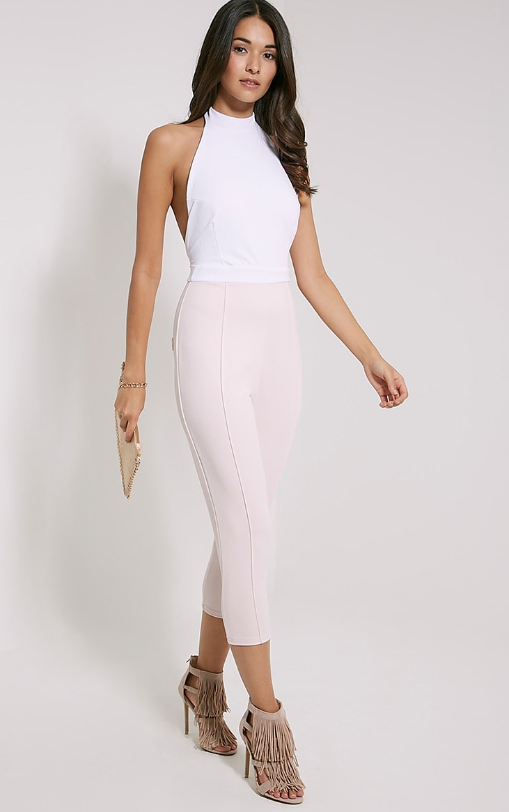 Nicki Two Tone Cream and Pink Backless Jumpsuit 1
