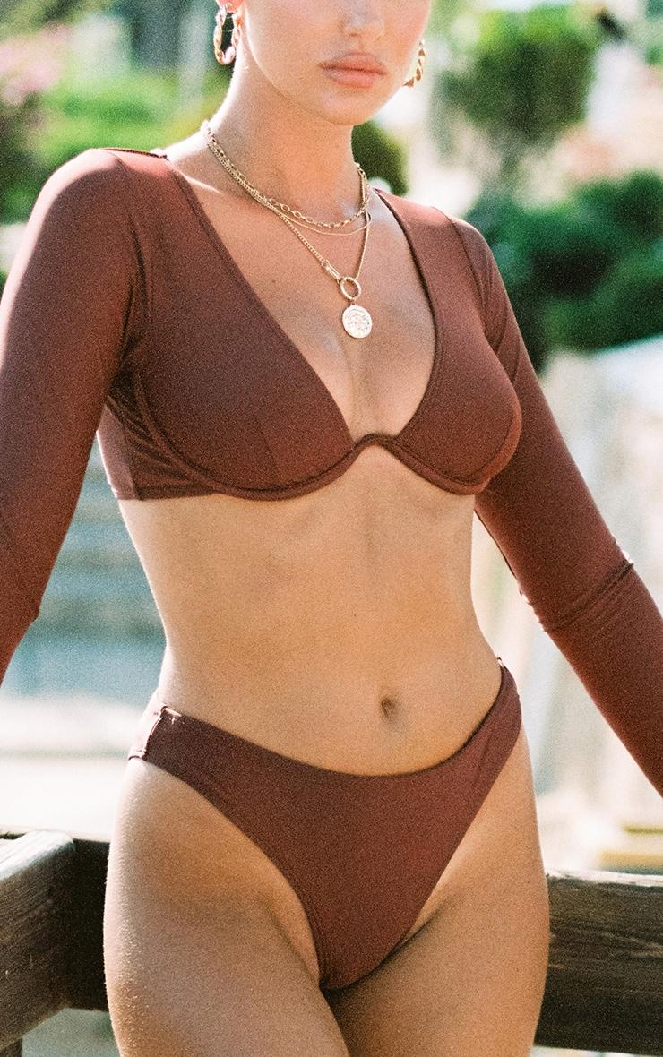 Deep Brown Mix & Match Underwired Long Sleeve Bikini Top 4