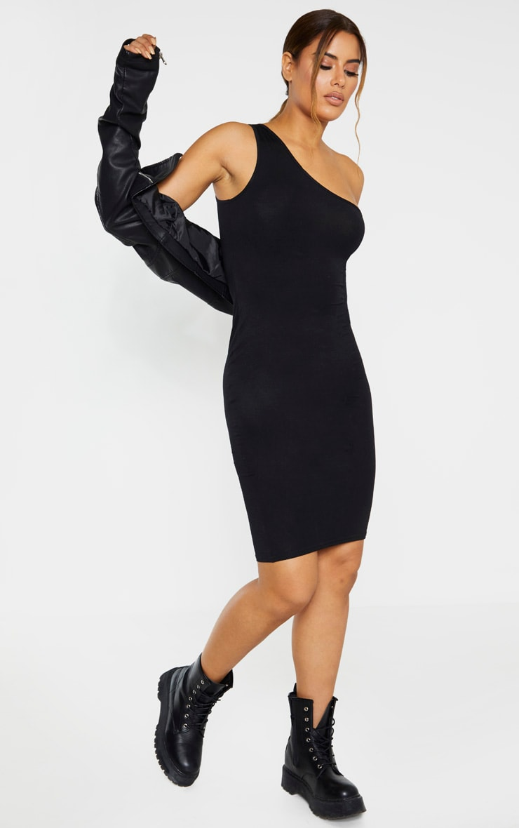Tall Black One Shoulder Jersey Mini Dress 4
