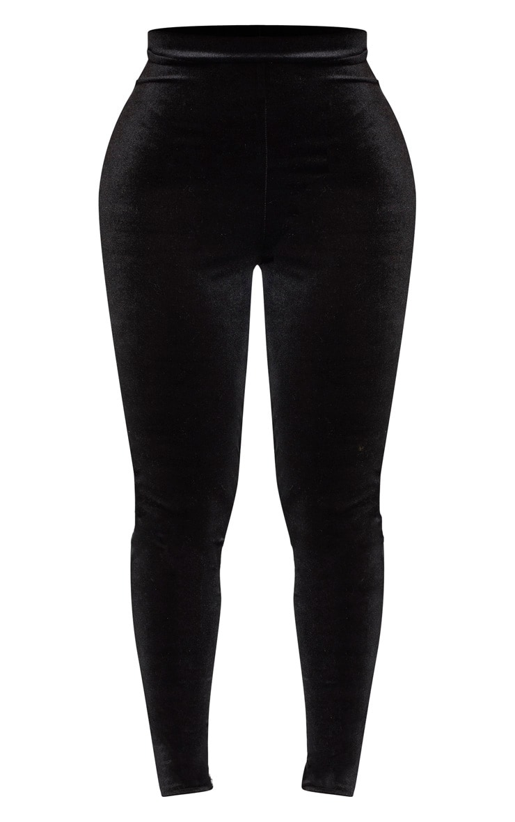 Shape Black Velvet High Waisted Trouser 3