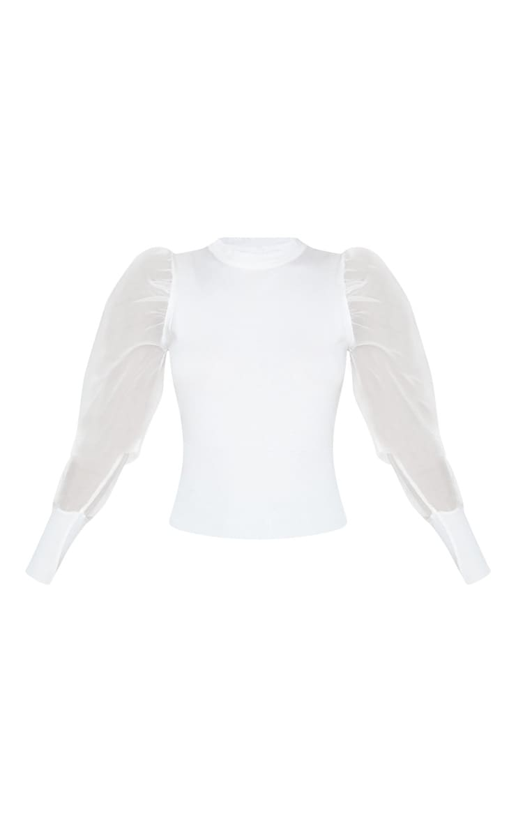 White Organza Puff Sleeve Sweater 3