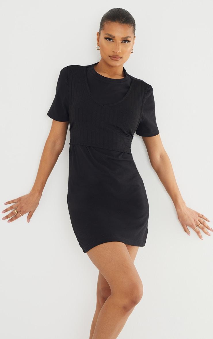 Black Rib Vest Wrap Detail T Shirt Dress 1