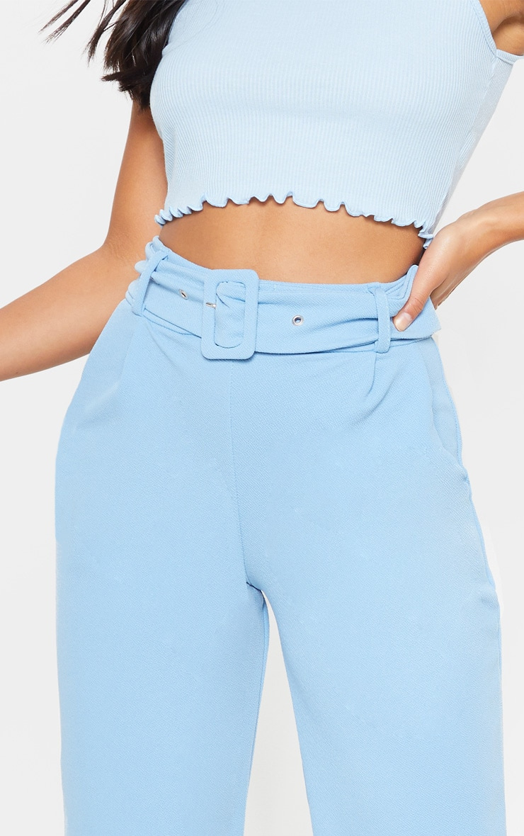Petite Baby Blue Belted Straight Leg Trouser 4