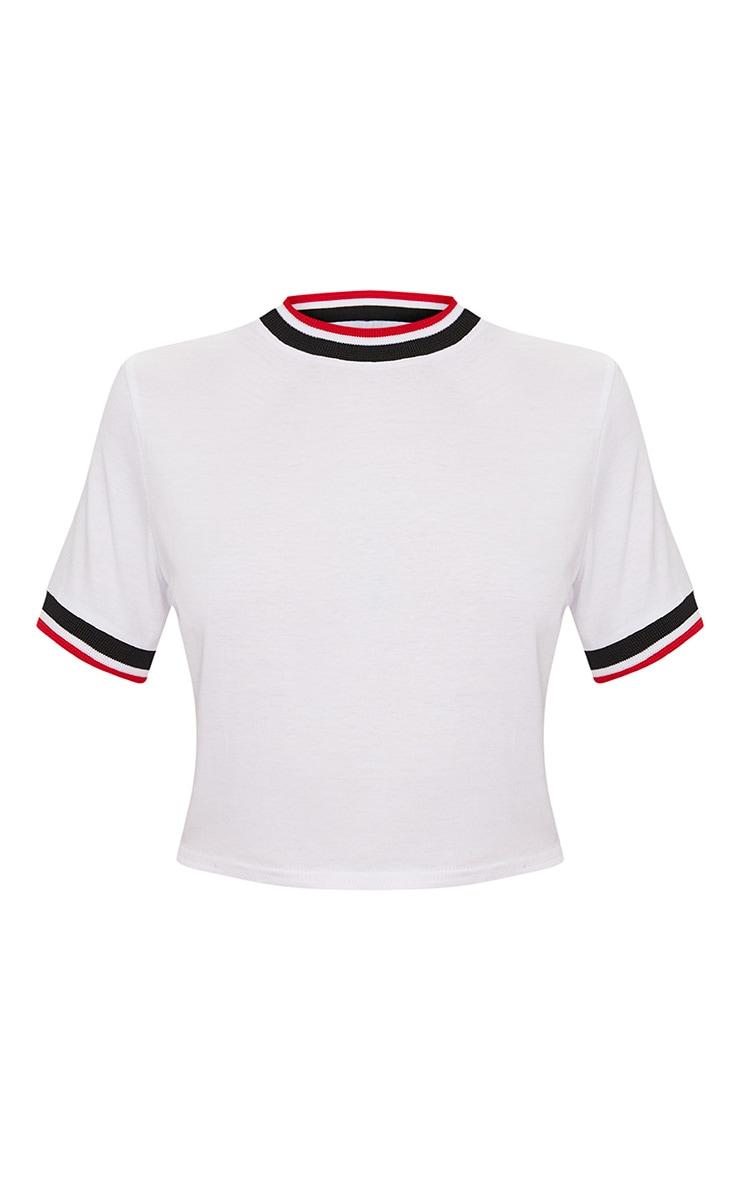White Sport Trim Crop T Shirt  3