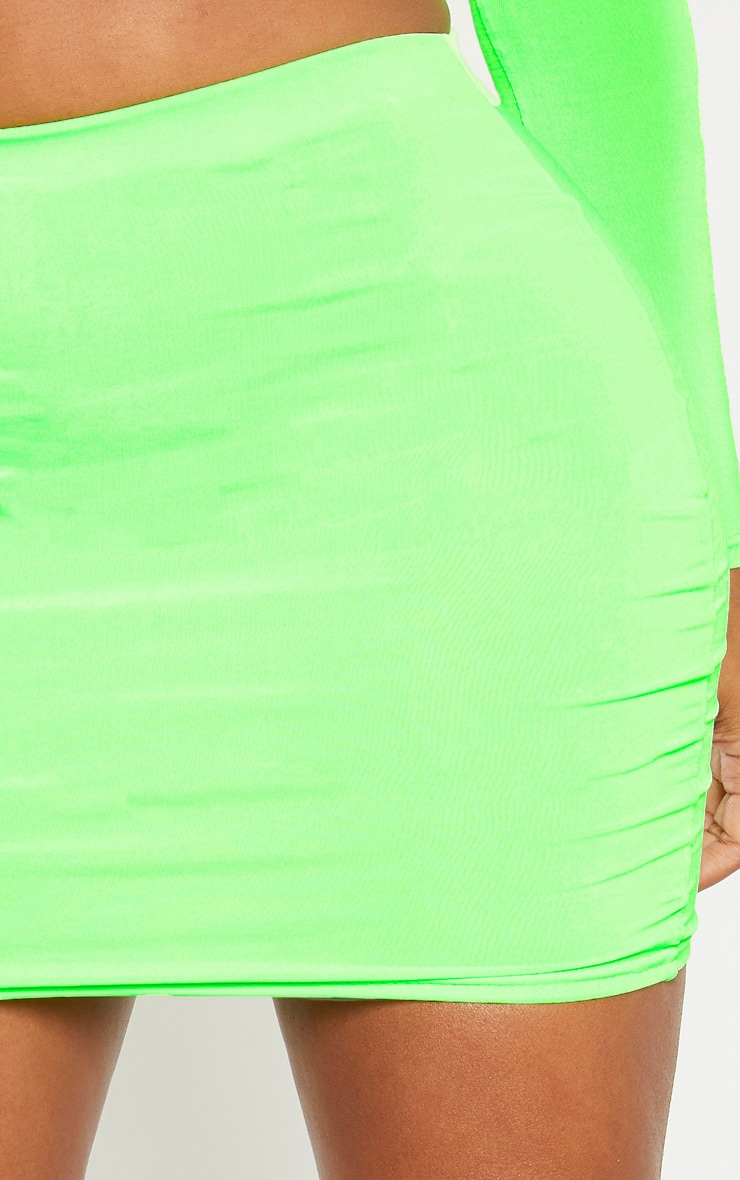 Shape Neon Lime Slinky High Waisted Mini Skirt 6