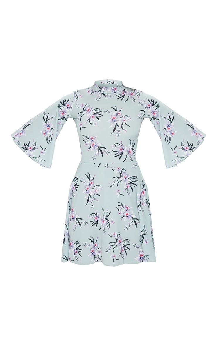 Sage Green Floral High Neck Cape Sleeve Skater Dress 5