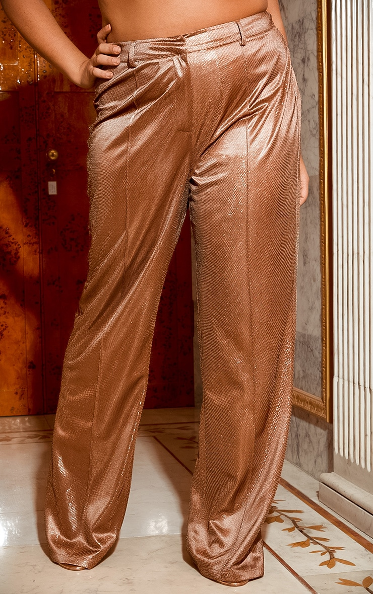 Plus Copper Metallic Wide Leg Pants 3