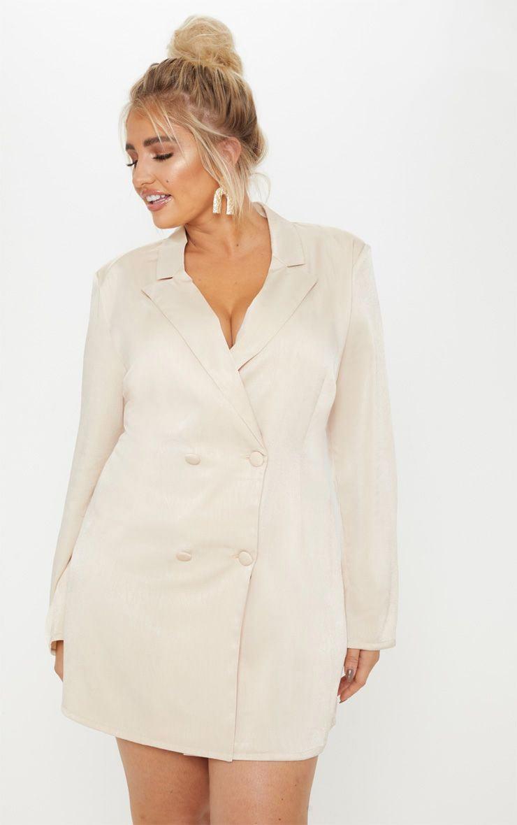 Plus Champagne Satin Shoulder Pad Blazer Dress