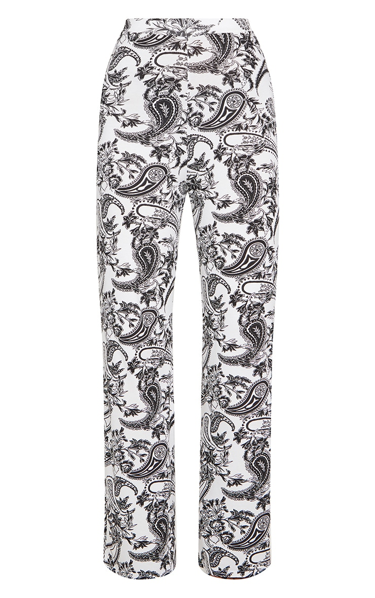 White Paisley Print High Waist Wide Leg Trousers 5