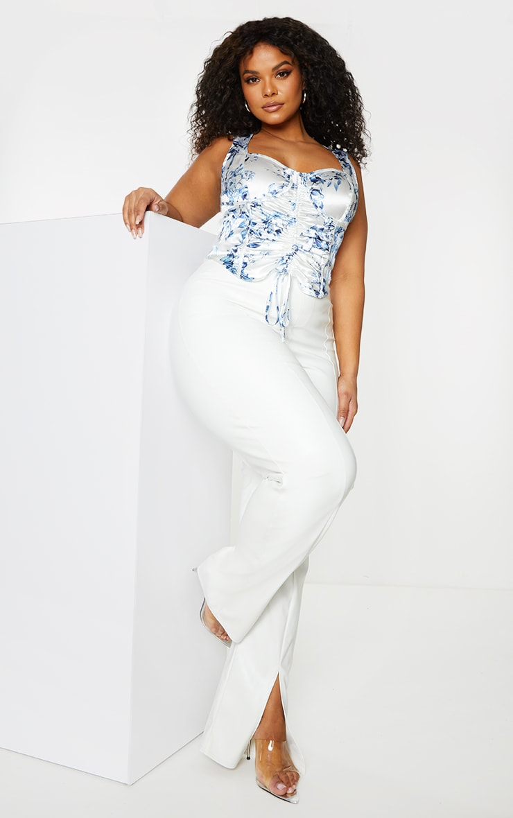 Plus White Butterfly Printed Satin Corset Ruched Detail Crop Top 1