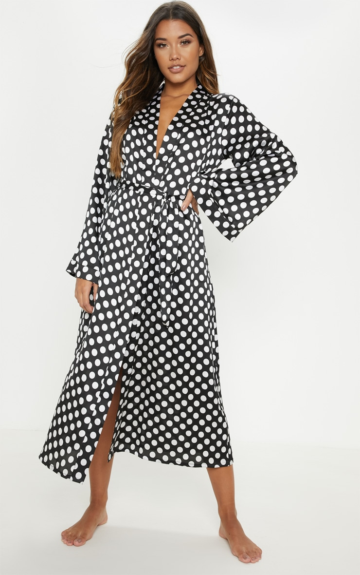 Monochrome Polka Print Long Sleeve Satin Robe 4