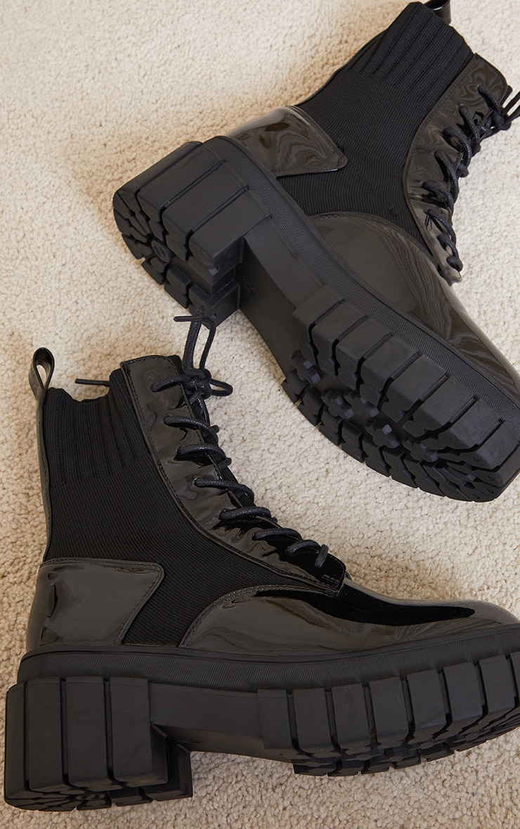 Black Pu Contrast Sock Lace Up Chunky Boots 4