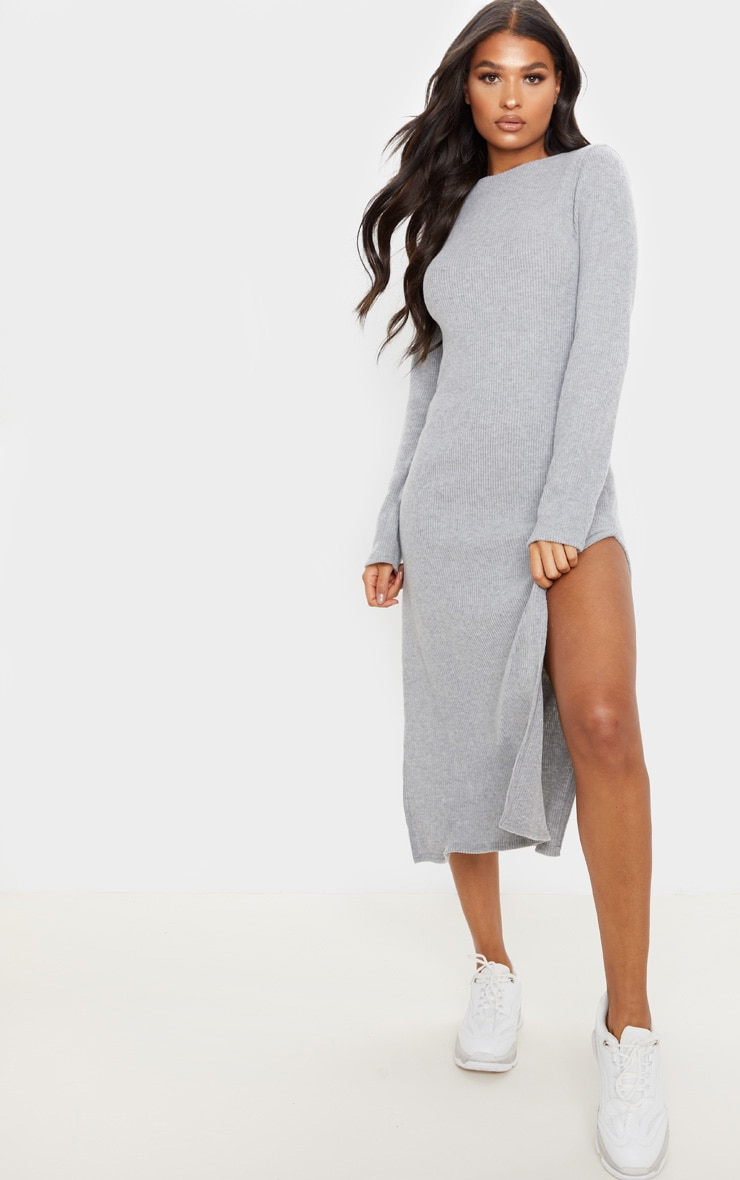 Grey Brushed Rib Long Sleeve Split Hem Midi Dress 1