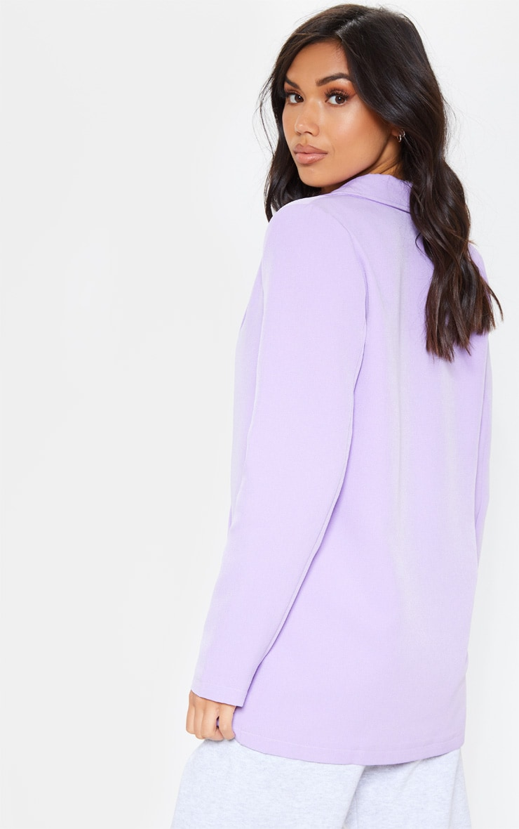Lilac Oversized Button Detail Woven Blazer 2