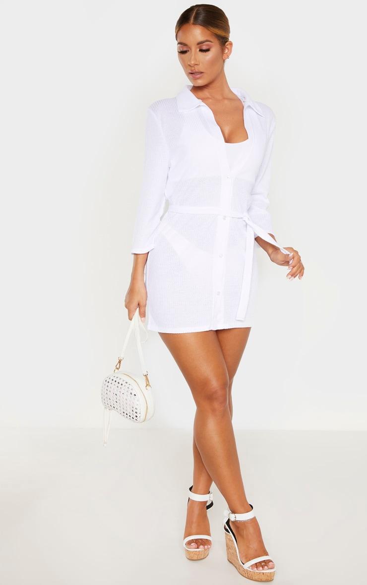 White Tie Waist Waffle Textured Beach Dress 4