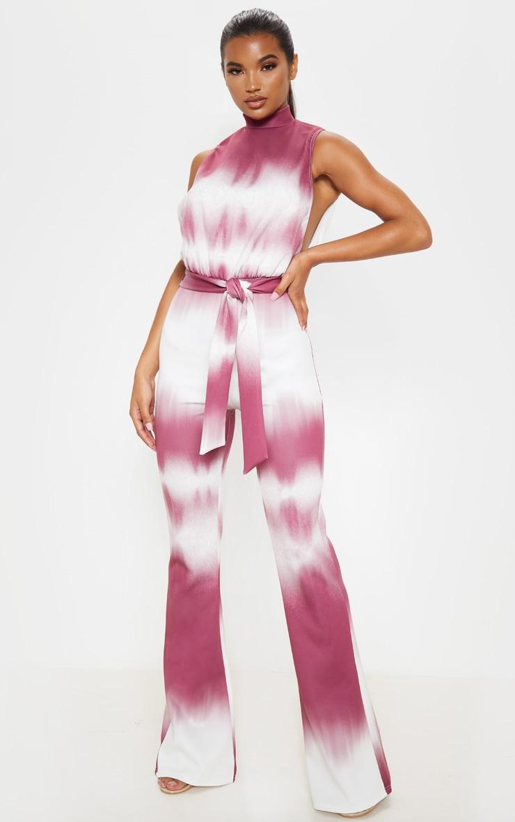 Burgundy Tie Dye Scuba High Neck Tie Waist Jumpsuit 1