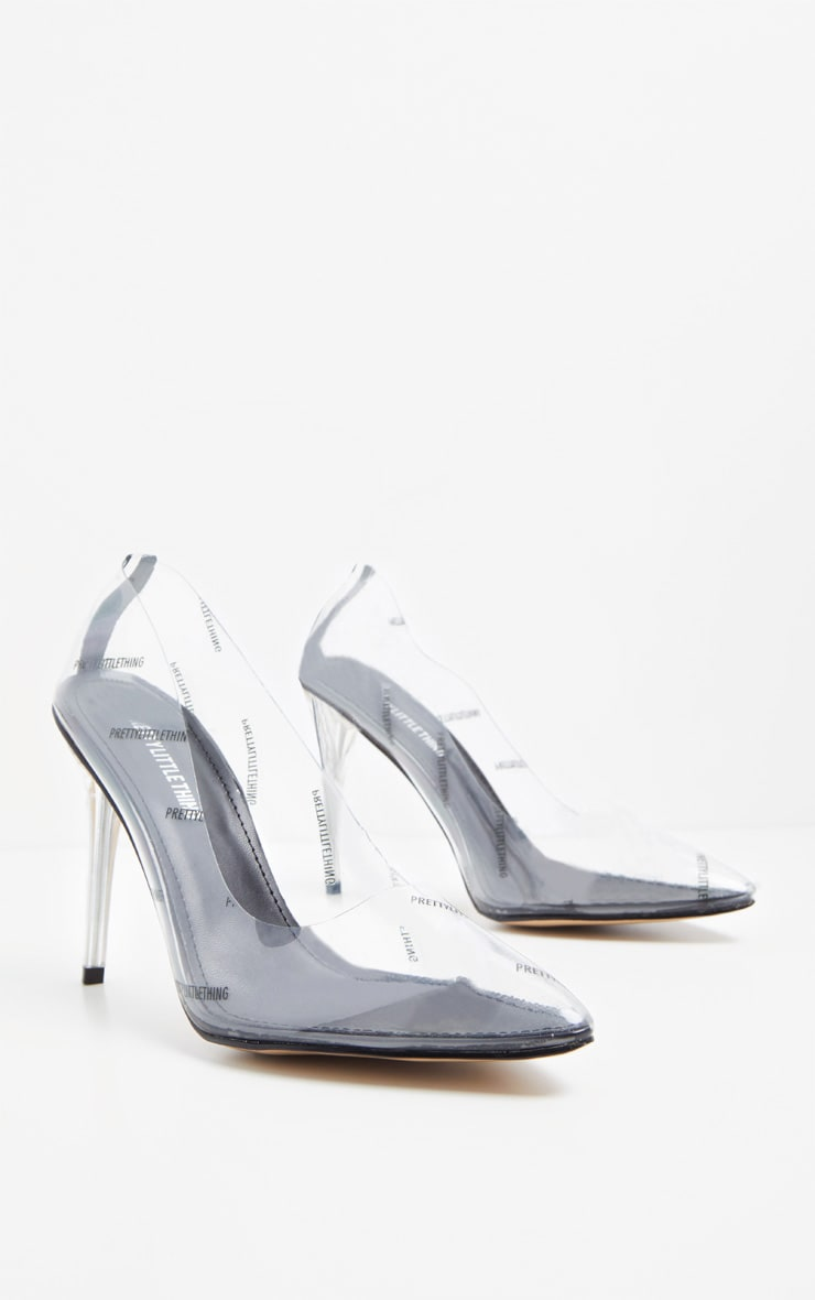 PRETTYLITTLETHING Clear/Taupe Printed Clear Courts  3