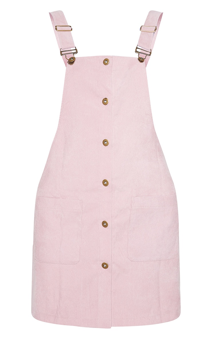 Blush Corduroy Buckle Front Pinafore Dress 3