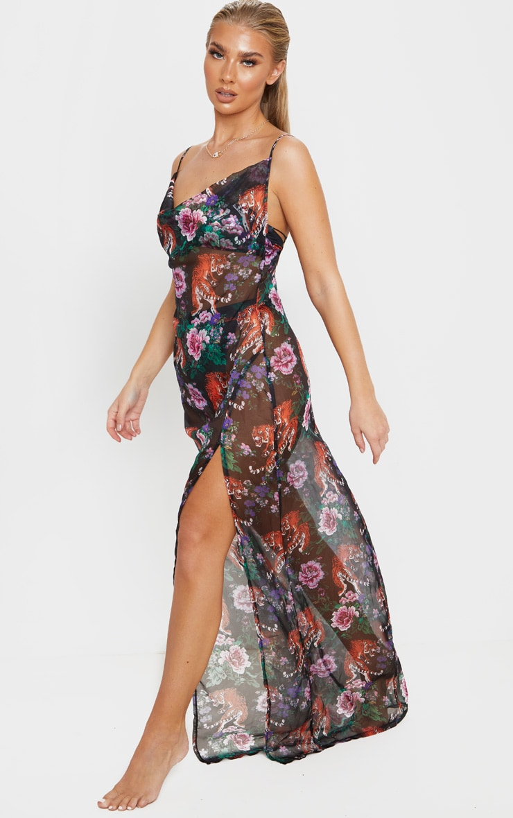 Black Tiger Oriental Cowl Neck Split Leg Maxi Beach Dress 4